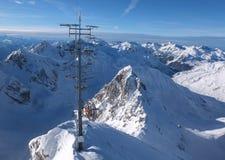 Vue du haut de la montagne de Valluga Photographie stock libre de droits