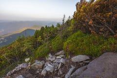 Vue du haut de la montagne sur le banc Photo stock