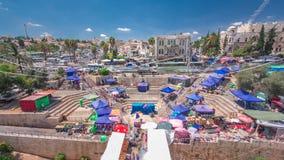 Vue du haut de porte de Damas au vieux timelapse de ville de Jérusalem l'israel clips vidéos