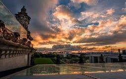 Vue du haut du Reichstag allemand, le parlement Image stock