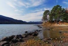 Vue du lac avec des arbres Photo libre de droits