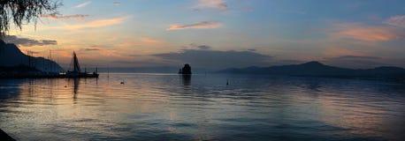 Vue du lac sur le Lac Léman Image stock