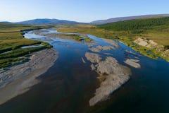 Vue du levé aérien de rivière de Langotegan Yamal, Russie photos stock