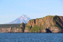 Vue du littoral de la péninsule de Kamchatka, Russie image stock