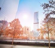 Vue du mémorial 911 avec la lumière du soleil, New York, Etats-Unis Images stock
