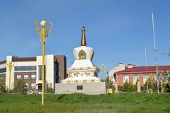 Vue du mortier de r?conciliation O I Place de Gorodovikov Elista, Kalmoukie image stock