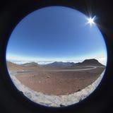 Vue du nord de poisson-oeil du haut de Haleakala Photographie stock