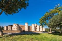 Vue du palais Aljaferia, établie au 11ème siècle à Saragosse, l'Espagne Copiez l'espace pour le texte Image libre de droits