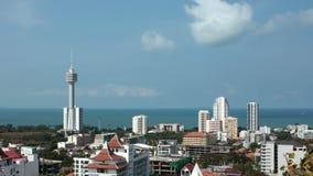 vue du panorama 4K de ville de Pattaya et de Golfe du Siam, Thaïlande clips vidéos