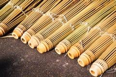 Vue du parapluie fait main en bambou Photographie stock