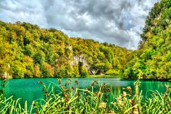 Vue du parc national de lacs Plitvice en Croatie photo libre de droits