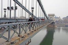 Vue du pont à chaînes de Szechenyi quatre saisons hôtel, Budapest Images libres de droits