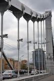 Vue du pont criméen de Krymsky à Moscou photographie stock libre de droits