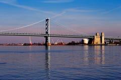 Vue du pont de Ben Franklin de Philadelphie Photographie stock libre de droits