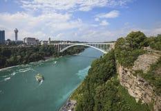 Vue du pont en arc-en-ciel des chutes du Niagara, NY, Etats-Unis Images stock