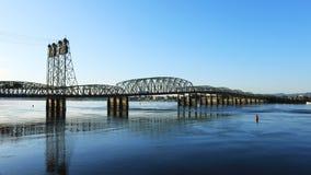 Vue du pont Vancouver, Washington vers Portland, Orégon photo libre de droits