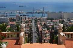 Vue du port de Haïfa Photo stock