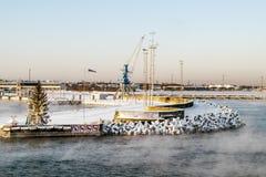 Vue du port de Tallinn et de l'hiver de mer baltique l'Estonie Photo stock
