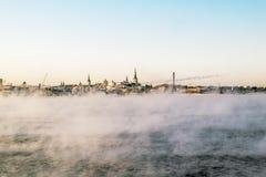 Vue du port de Tallinn et de l'hiver de mer baltique l'Estonie Photos stock