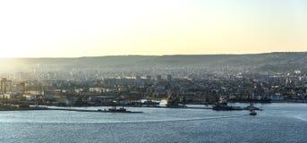 Vue du port de Varna Photo libre de droits