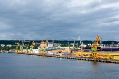 Vue du port et du chantier naval de quai Image libre de droits