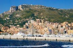 Vue du port maritime et de la ville de Monte Carlo au Monaco Photo libre de droits