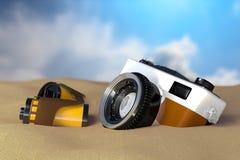 vue du rendu 3d du rétro appareil-photo de vintage avec des petits pains de film Photos libres de droits