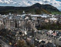 Vue du ` s Seat d'Edimbourg et d'Arthur Images libres de droits