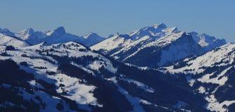 Vue du secteur de ski de Rellerli, Suisse Photos libres de droits