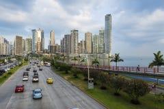 Vue du secteur et de la mer financiers à Panamá City, Panama Photo libre de droits