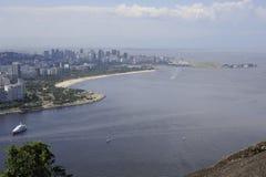 Vue du Sugaloaf à Botafogo et à d'autres disctricts de Rio de Janeiro photos stock