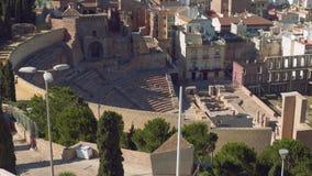 Vue du théâtre romain de Carthagène banque de vidéos
