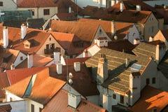 Vue du toit dans Cesky Krumlov, République Tchèque Photos stock