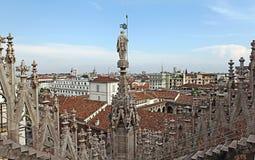 Vue du toit de Milan Cathedral Duomskogo Photo libre de droits