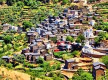 Vue du village de montagne de Piodao Photographie stock