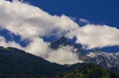 Vue du Zugspitze, le plus haut bâti de l'Allemagne Image stock