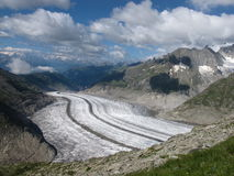 Vue en bas du glacier d'Aletsch photos stock