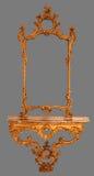 Vue en bois de miroir antique d'isolement Images libres de droits