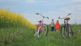 Vue en gros plan des deux bicyclettes au fond brouillé des couples affectueux tenant des mains tout en marchant le long du vert clips vidéos