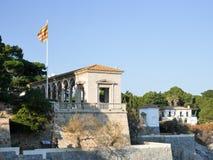 Vue ensoleillée, bâtiments dans le ` Agaro, Costa Brava, Espagne de S Photographie stock libre de droits