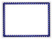 Vue et frontière de ruban avec le drapeau d'Union européenne, affilant de la corde d'or illustration 3D Photo libre de droits