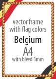 Vue et frontière de ruban avec les couleurs du drapeau de la Belgique Photographie stock