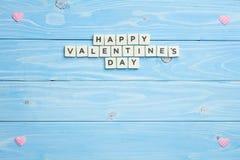 Vue et jour de valentines heureux sur le fond en bois Image libre de droits
