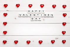 Vue et jour heureux du ` s de valentine sur le fond en bois Photo stock