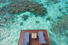 Vue extérieure chez les Maldives Image libre de droits