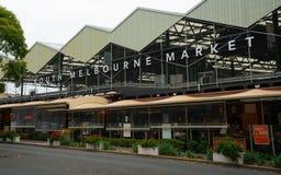 Vue extérieure de marché du sud de Melbourne avec le nom à Melbourne Victoria Australia photo libre de droits