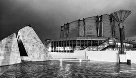Vue extérieure de Te Papa Musum la nuit, Wellington photographie stock