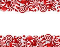 Vue faite de sucreries rouges et blanches Photographie stock libre de droits