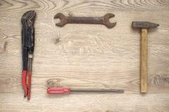 Vue faite de vieux outils image stock