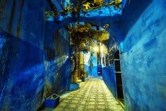 Vue fantastique et mystique de la belle Médina bleue de Chefchaouen photos stock